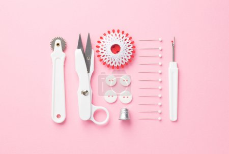 Sewing tools over pink
