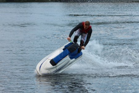 Action Photo Man on seadoo. Jet Ski Tricks.