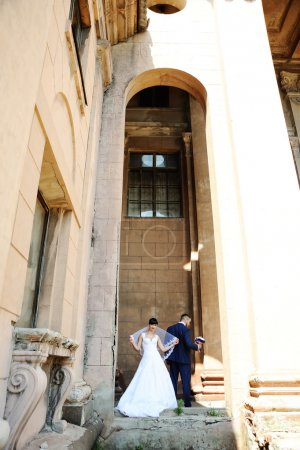 the bride and groom on the background of an old building with co