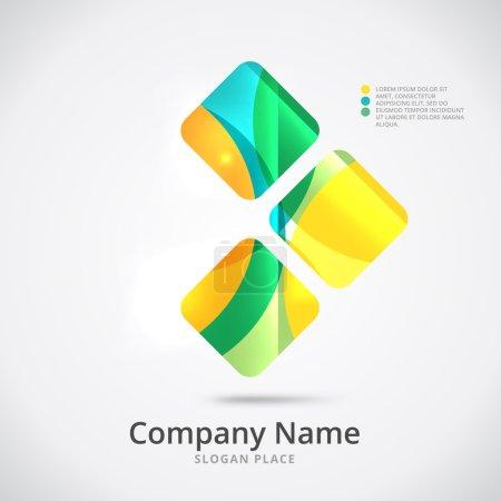 Photo pour Conception abstraite de logo de flèche faite de pièces de couleur - diverses formes géométriques - image libre de droit