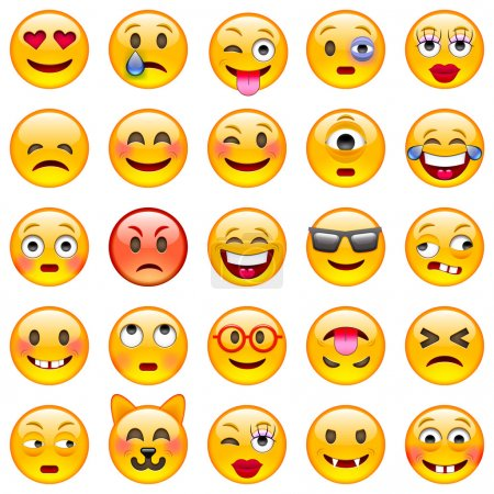 Illustration for Set of Emoticons. Set of Emoji. Isolated vector illustration on white background - Royalty Free Image