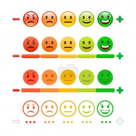 Illustration for Feedback Emoticon bar. Feedback Emoji. Feedback Emoticon Icons set - Royalty Free Image