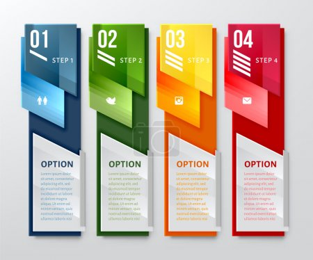 Illustration for Vertical design number banners template. Can be used for workflow layout, diagram, number options, web design. - Royalty Free Image