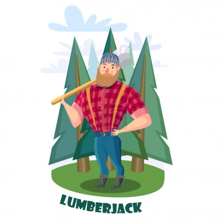 Illustration for Cartoon Lumberjack with axe in the forest. Lumberjack in  red shirt and blue jeans. - Royalty Free Image