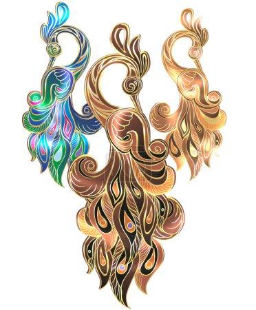 Illustration for Peacock, jewelry, illustration, Arabian bird, bird of happiness, gold, diamonds, glamor, jewelery, souvenir,  Oriental tale, ethnic, east motifs, oriental style, the characteristic of a bird, a fantastic bird, magic birds - Royalty Free Image