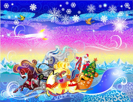 Three horses carriage with Santa Claus