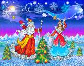 Beautiful Snow Maiden and Santa Claus congratulates all Happy New Year