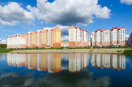 Apartment buildings in recreation area with cascade of lakes, Gomel, Belarus