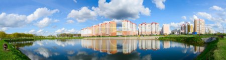 Modern recreation area with cascade of lakes, Gomel, Belarus