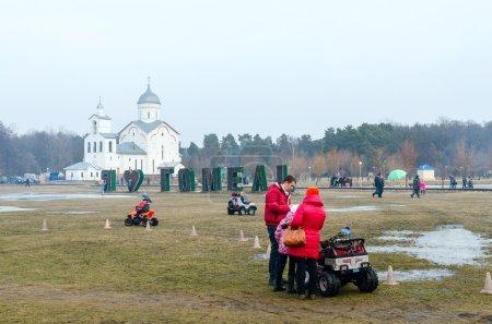 Shrovetide festivities in Gomel. Rent of children's electric car