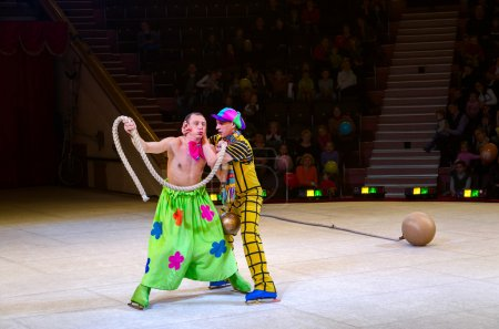 Performance of clown group of Moscow Circus on Ice on tours