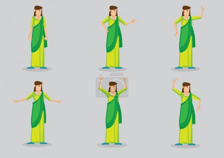 Illustration for Cartoon character of woman with red bindi on forehead wearing green sari - Royalty Free Image