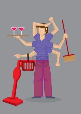Busy Housewife Multi-tasking Character