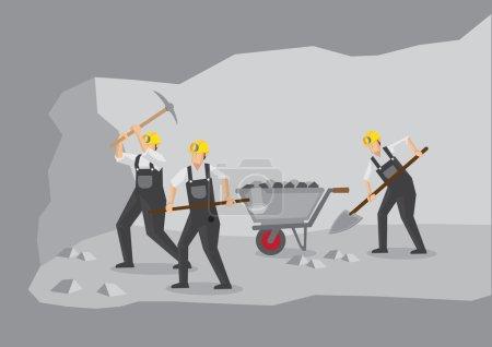 Coal Miners Working in Underground Mine