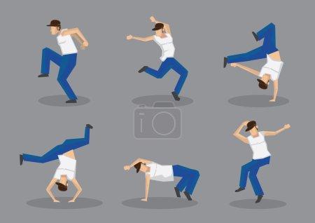 Funky Street Dancers Icons Set