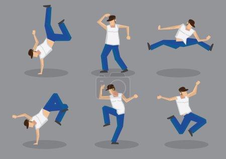 Hip Hop Dancer Icons Set
