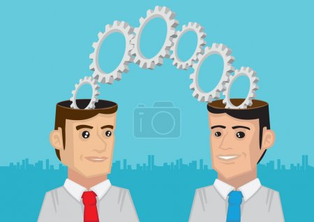 Two Heads are Better than One Metaphor Vector Illustration
