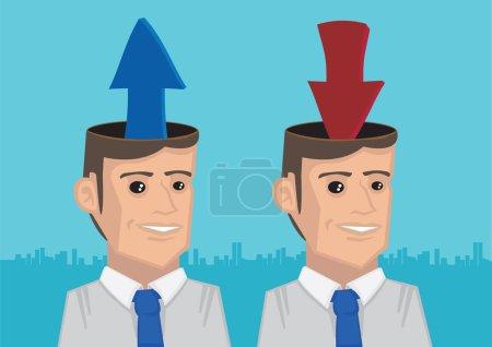 Illustration pour Flèches sortant et entrant dans les têtes ouvertes de deux hommes d'affaires. Illustration vectorielle pour le téléchargement et le téléchargement d'informations métaphoriques - image libre de droit