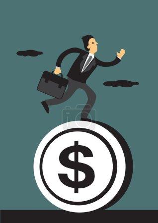 Businessman Running on Money
