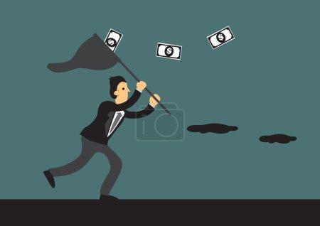 Businessman Running After Money Vector Cartoon Illustration