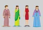 Asian Woman Fashion Traditional Costumes Vector Illustration