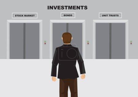 Cartoon man choosing the investment plan he want. Vector illustration.