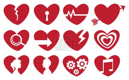 Illustration for Vector illustration of different societal symbols in symbolic red heart shape. - Royalty Free Image