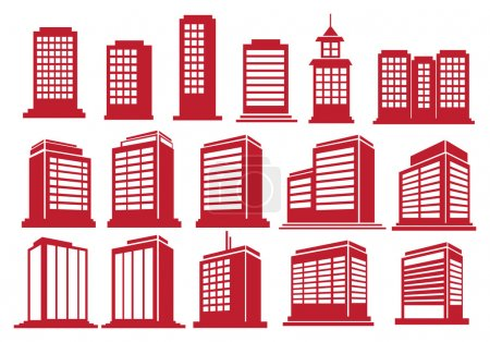 Vector illustration of the modern high rise buildi...