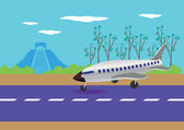 Airplane Landing in Mexico Vector Illustration