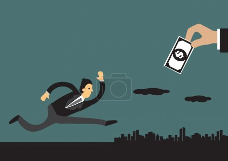 Businessman Chasing Money Concept Vector Illustration