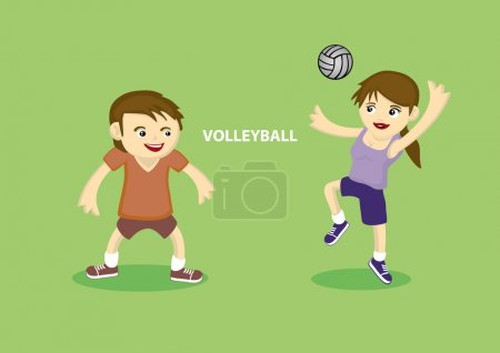 Couple playing volleyball
