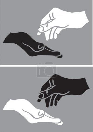 Illustration for Vector illustration of two hands in black and white in giving and taking gestures isolated on grey background - Royalty Free Image