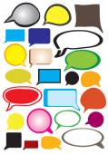 Collection of fanciful speech balloon vector illustration with copy space