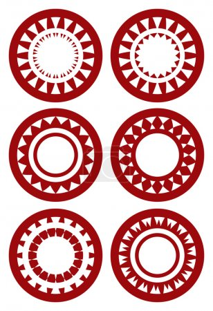 Set of Round Decorative Patterns in Red on White Background