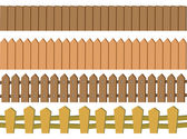Seamless Rustic Wooden Fence Vector Design Isolated on White Bac