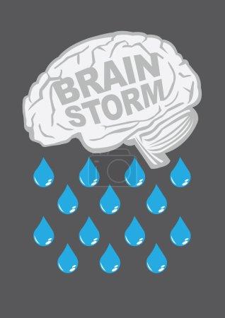 Illustration pour Cerveau humain avec gouttes de pluie. Illustration vectorielle conceptuelle pour métaphore de remue-méninges créatifs . - image libre de droit