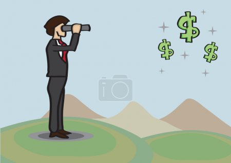 Businessman Spots Money Opportunities in Distance with Telescope
