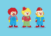 Cute Clowns in Colorful Outfits Vector Illustration