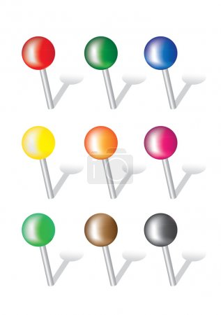 Colorful Push Pins Vector Illustration