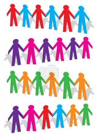 Cut out paper human figures holding hands vector illustration
