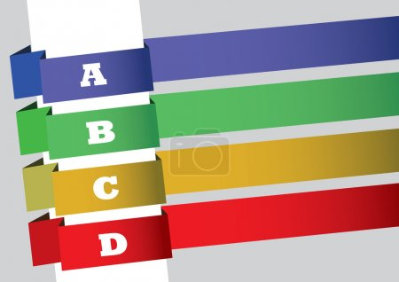 Layout design with four slanted strips of colorful...