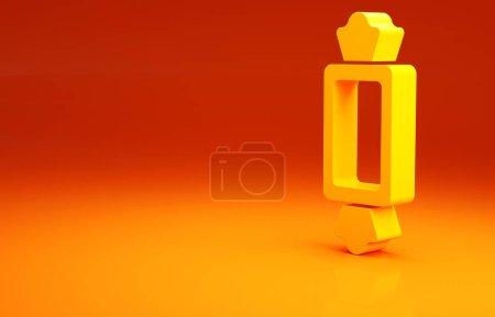 Photo pour Icône Bonbons jaunes isolée sur fond orange. Bonne fête d'Halloween. Concept de minimalisme. Illustration 3D rendu 3D. - image libre de droit