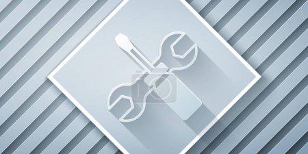 Illustration pour Tournevis de coupe de papier et clé à molette icône des outils isolés sur fond gris. Symbole d'outil de service. Style art du papier. Vecteur. - image libre de droit