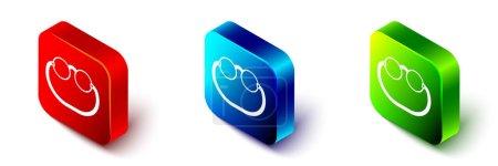 Illustration pour Isométrique Lunettes de vue icône isolée sur fond blanc. Bouton carré rouge, bleu et vert. Vecteur. - image libre de droit