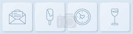 Illustration pour Set line Carte de souhaits, Horloge avec coeur, Crème glacée et verre à vin. Bouton carré blanc. Vecteur. - image libre de droit