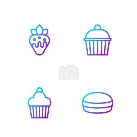 Illustration pour Mettre en ligne Macaron cookie, Gâteau, Fraise au chocolat et. Icônes de couleurs dégradées. Vecteur. - image libre de droit