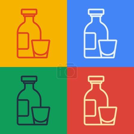 Illustration pour Pop art ligne Alcool boisson Bouteille de rhum et icône en verre isolé sur fond de couleur. Vecteur. - image libre de droit