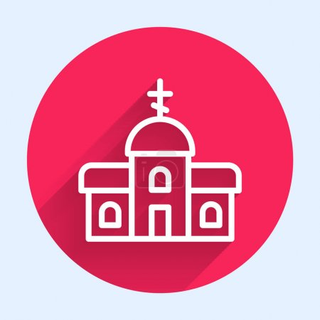 Illustration for White line Church building icon isolated with long shadow. Christian Church. Religion of church. Red circle button. Vector. - Royalty Free Image