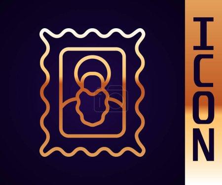 Illustration pour Ligne d'or icône chrétienne isolé sur fond noir. Vecteur. - image libre de droit