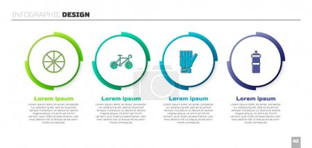 Illustration for Set Bicycle wheel, , Gloves and Sport bottle with water. Business infographic template. Vector - Royalty Free Image